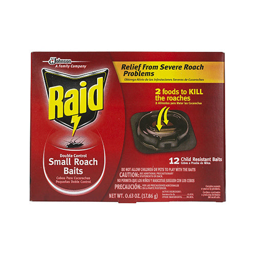 Raid® 15745 Double Control Roach Baits & Raid® Plus Egg Stoppers™, Small, 12-Pack