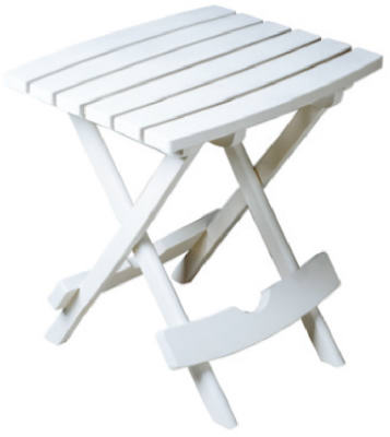 Adams 8500-48-3731 Quik-Fold Portable Side Table, Resin, White