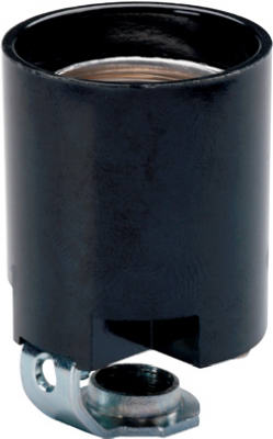 Pass & Seymour Fixture Socket, 15A, 125V, Black