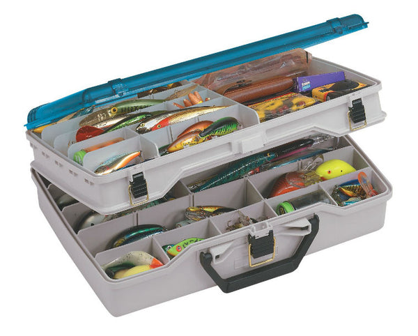 Plano® 1155 Two-Tier Satchel Tackle Box with Clear DuraView™ Lid, Beige/Blue