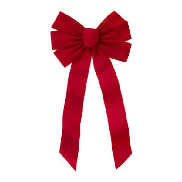 Holiday Trim 7964 Red Velvet 7-Loop Bow for Christmas Decoration, 22 inch