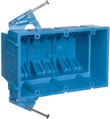 Carlon New Work Super Blue Hard Body Wiring Box, 3-Gang