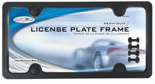 Custom Accessories 92502 Sport License Plate Frame with Fasteners,  Black