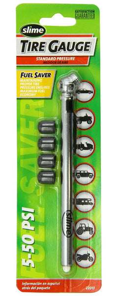 Slime® 22013 Pencil Tire Gauge with 4 Bonus Valve Caps, 5-50 PSI