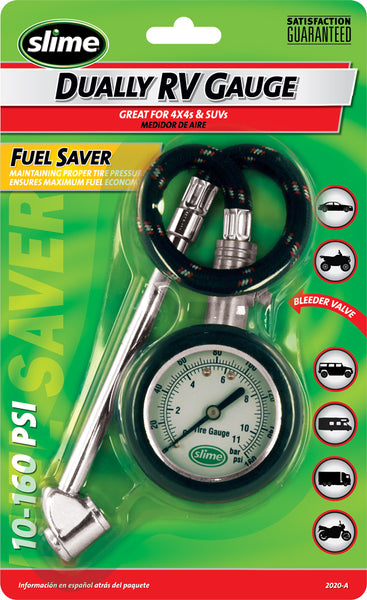 Slime® 2020-A Dually RV Tire Gauge with Hose & Dial, 10-160 PSI