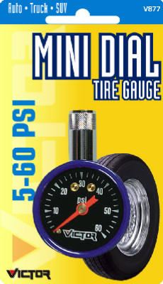 Victor Automotive 22-5-08770-8 Mini Dial Tire Gauge, 5 - 50 PSI