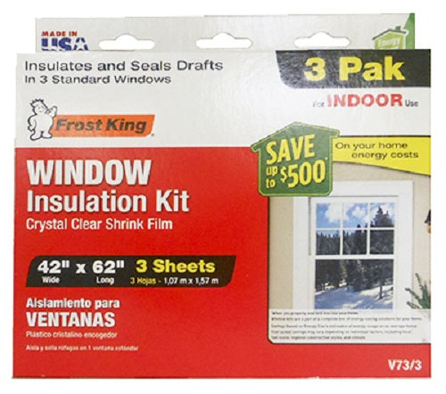 "Frost King V73/3H Window Insulation Kit, 42"" x 62"", 3-Pack"