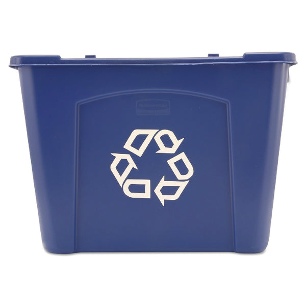 Rubbermaid® Commercial 5714-73-BLUE Stackable Recycling Box, 14 Gallon, Blue