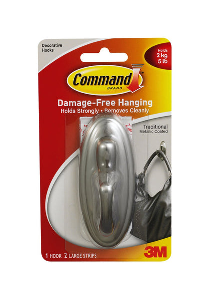 Command 17053BN Traditional Decorative Plastic Hook, Brushed Nickel, Large
