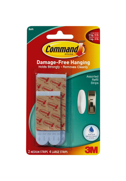 Command 17615B Water Resistant Replacement Strips, 6-Count