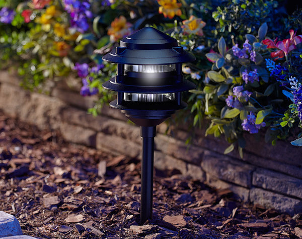 Moonrays® 95725 Low-Voltage Pagoda-Style 3-Tier Metal Path Light, 11W, Black
