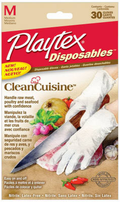 Playtex 06407 Clean Cuisine Disposable Food Prep Gloves, Medium, 30-Count
