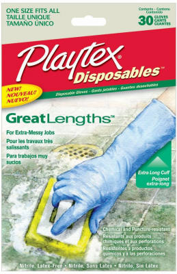 Playtex 06405 GreatLengths Long Cuff Disposable Gloves, 30 Count