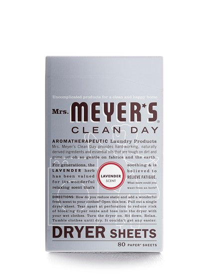 Mrs. Meyer's Clean Day 14148 Lavender Dryer Sheets, 80-Count