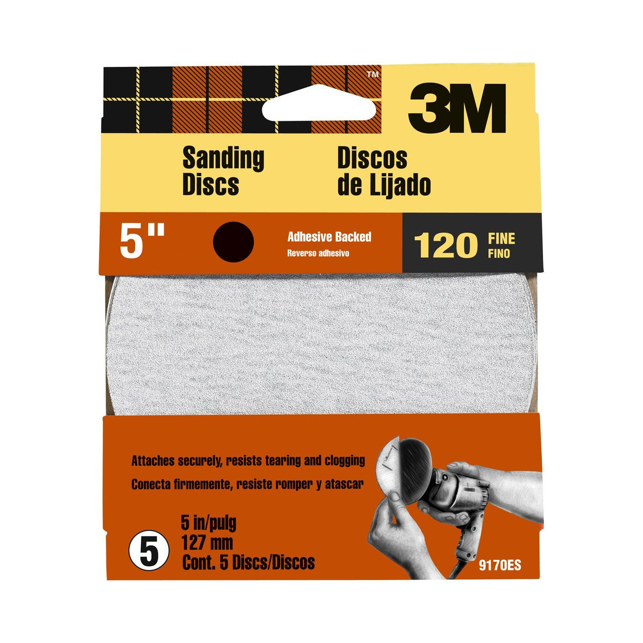 "3M 9170ES Adhesive Backed Multi-Purpose Sanding Disc, 5"", Fine 120 Grit, 5-Pack"