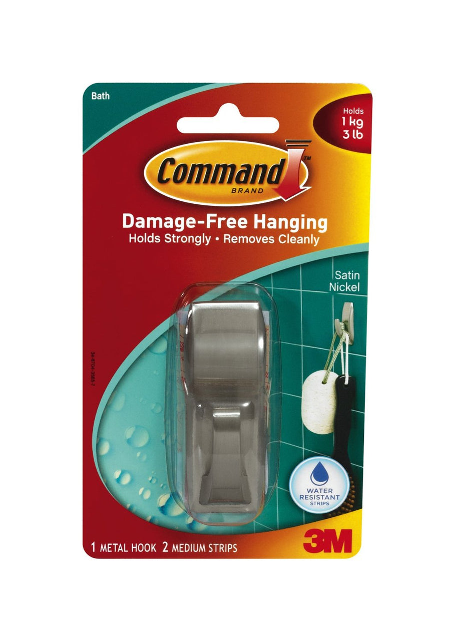 Command MR02-SN-B Modern Reflections Hook with Water-Resistant Strips, Medium, Satin Nickel