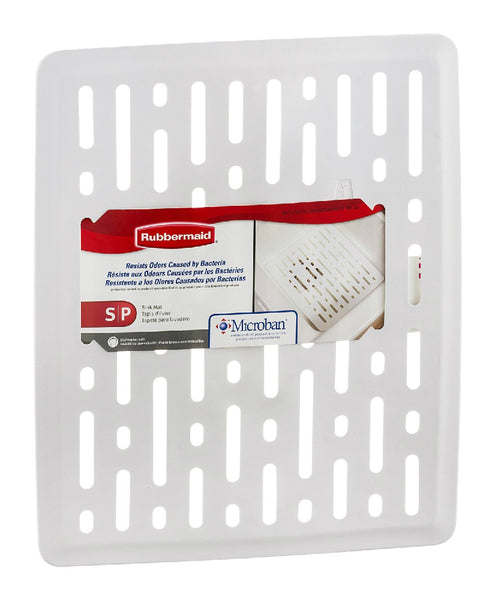 Rubbermaid 1G1706WHT Enhanced Microban Antimicrobial Sink Mat, Small, White