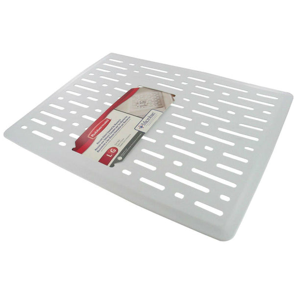 Rubbermaid 1G1606WHT Enhanced Microban Antimicrobial Sink Mat, Large, White
