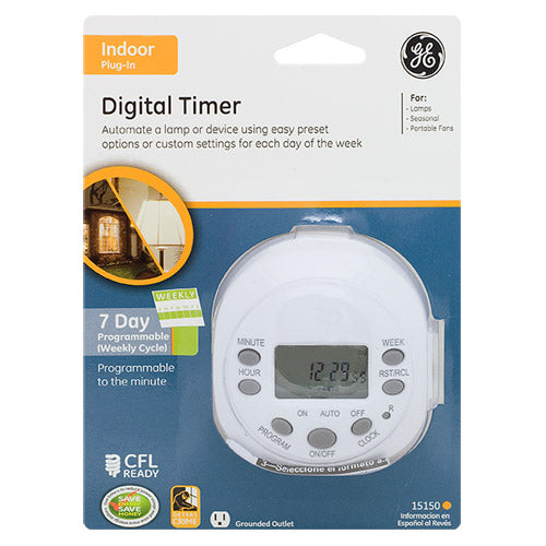 GE 15150 Indoor 7-Day 1-Outlet Heavy-Duty Digital Timer