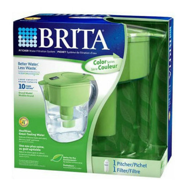 Brita® 35378 Grand Pour-Through Filter Pitcher, Green, 10-Cup