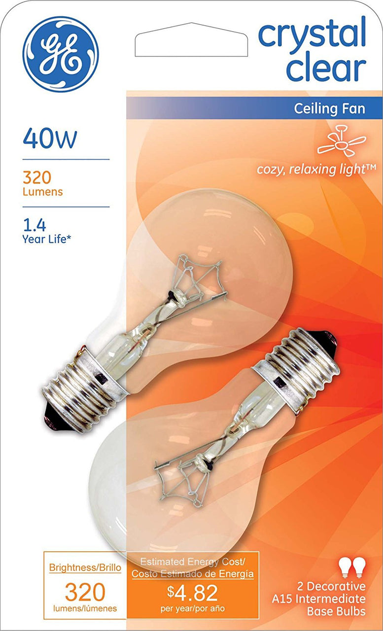 GE 74037 Intermediate Base A15 Ceiling Fan Bulb, Crystal Clear, 40W, 2-Pack