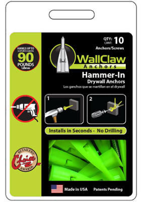 Wallclaw PCK-WC10-YS Hammer-In Drywal Anchor with Screw, 10-Pack