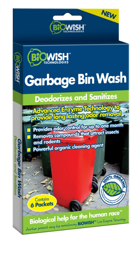 BiOWiSH™ B00069 Garbage Bin Wash, 1 Oz, 6-Packets