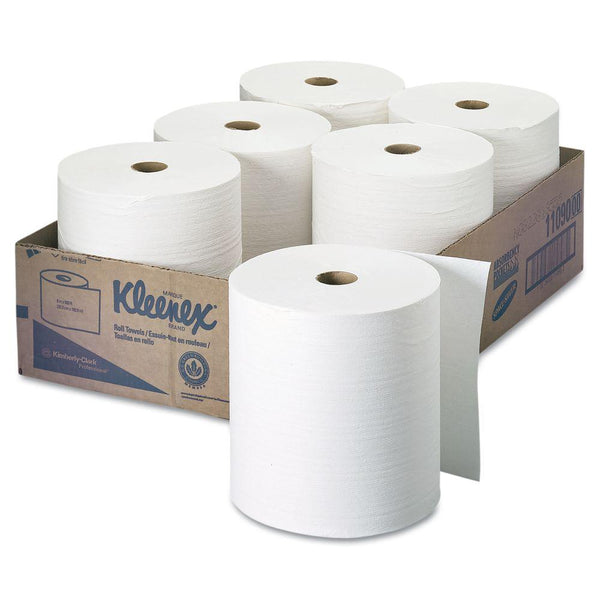 "Kleenex 11090 Hard Roll Paper Towels, White, 1.5"" Core, 8"" x 600', 6-Pack"