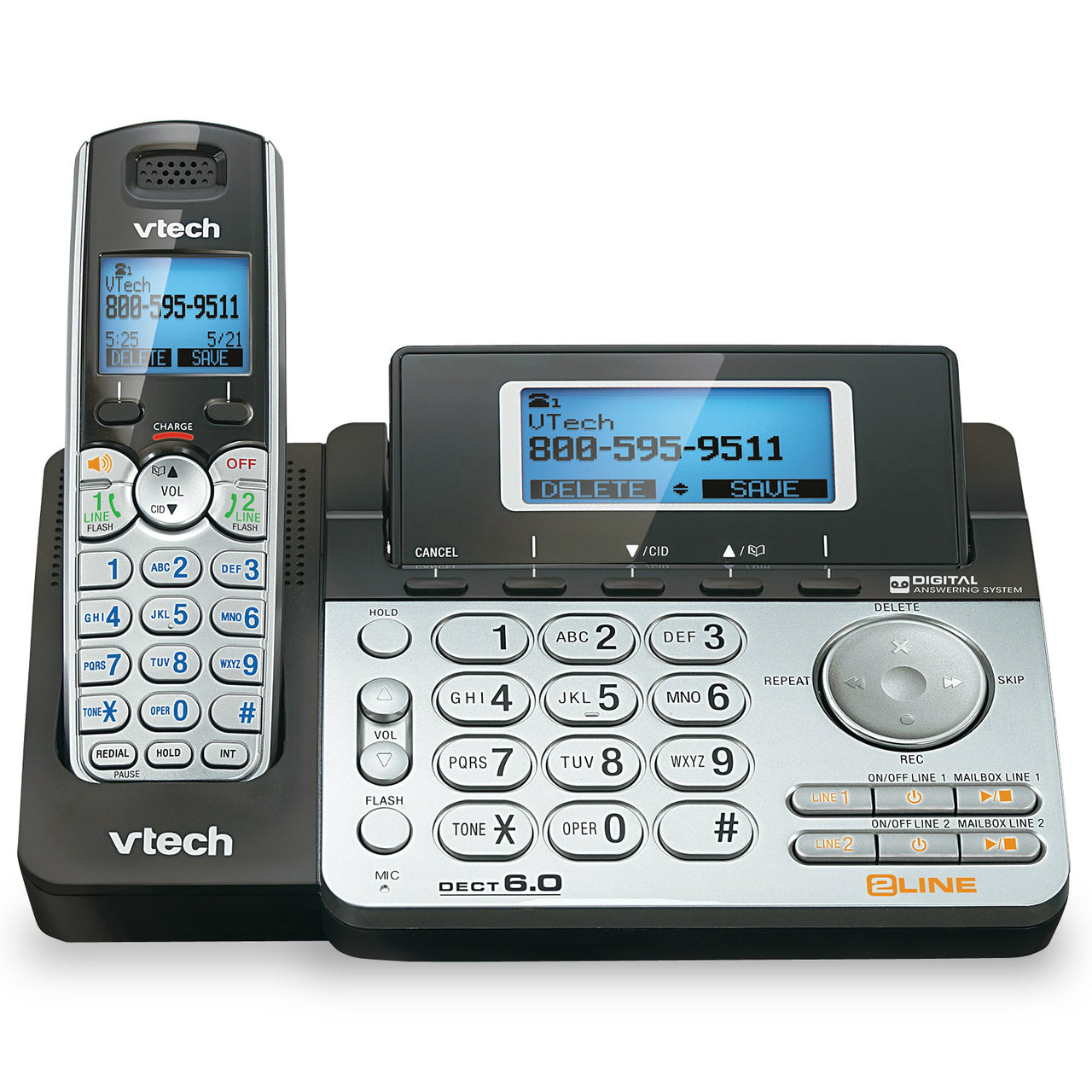 Vtech® DS6151 Two-Line Cordless Phone w/Digital Answering System/Caller ID