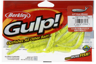 "Berkley® GMI2-CS Plastic Minnow Grub, 2.5"", Charteuse Color, 18 Count"