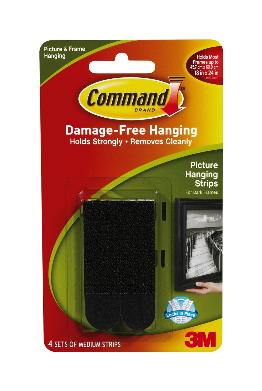 Command 17201BLK Picture Hanging Strips, Medium, Black, 4-Set