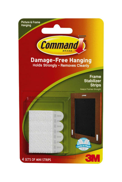 Command 17208 Frame Stabilizer Strips, White, 4-Sets
