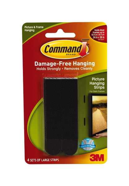 Command 17206BLK Picture Hanging Strips, Large, Black, 4-Set