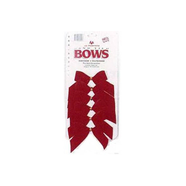 Holiday Trim® 7920 Christmas Red Velvet 2-Loop Bow w/Gold Foil Tie Back, 6-Pack