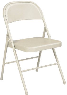 Cosco® 14-711-ANT4 Heavy Duty All Metal Folding Chair, Antique Linen