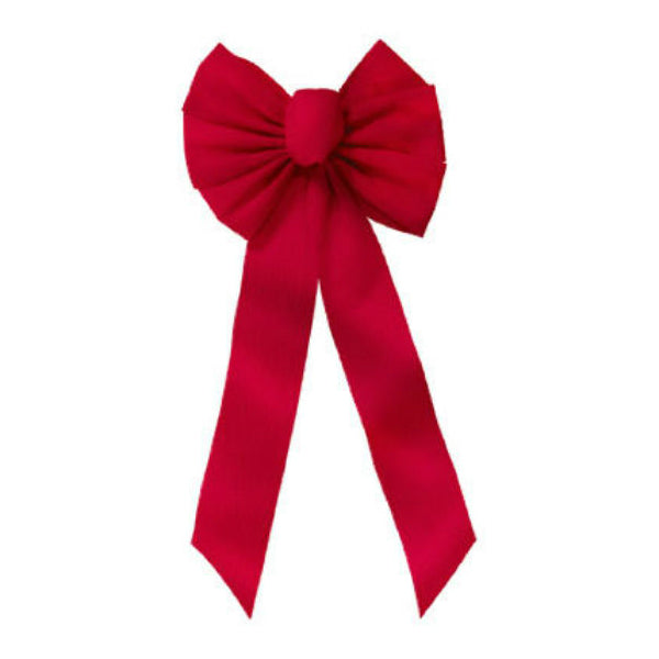 Holiday Trim 6511 Christmas 7-Loop Ripple Embossed Red Velvet Bow