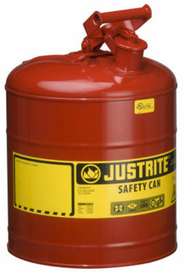 Justrite 7120100 Type I Steel Safety Gas Can, 5 Gallon, Red