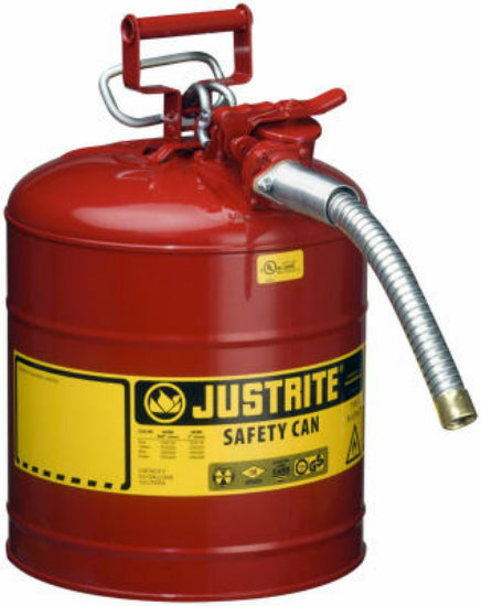 Justrite 7250130 Type II AccuFlow Galvanized Steel Gas Safety Can, 5 Gallon, Red