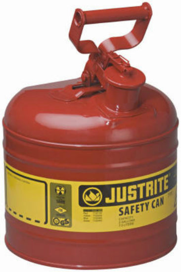 Justrite 7120100 Type I Steel Safety Gas Can, 2 Gallon, Red