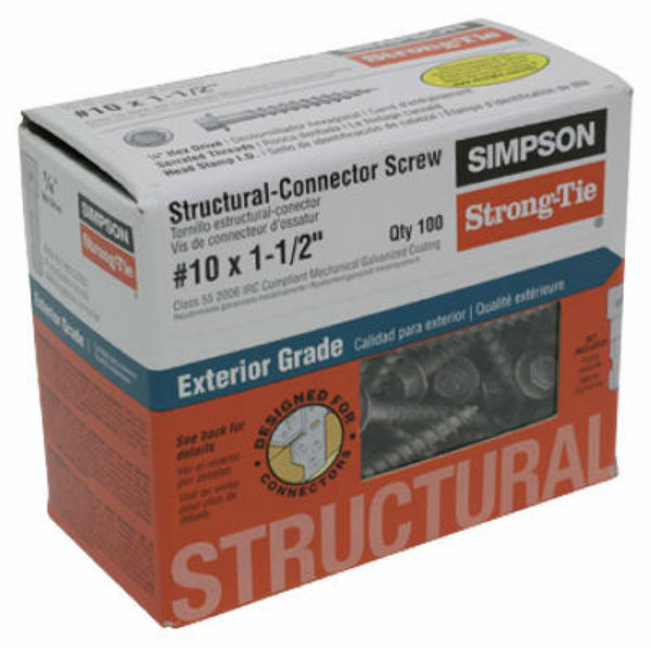 "Simpson Strong-Tie SD10112R100 Structural Connector Screw, #10 x 1.5"", 100-Pack"