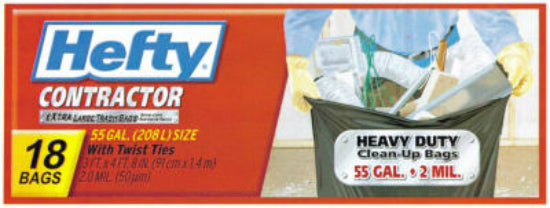 Hefty E2-5520 Extra Large Contractor Bag w/ Twist Ties, 55 Gallon, Gray, 18-Ct