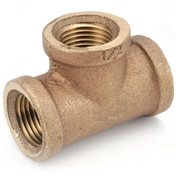 Anderson Metals 738101-16 Lead Free Tee, Rough Brass, 1""