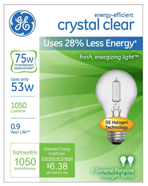 GE Lighting 78797 Energy-Efficient A19 Halogen Bulb, Crystal Clear, 53W, 2-Pack