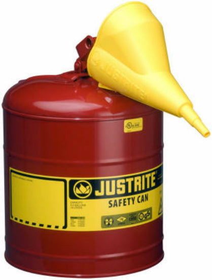 Justrite 7150110 Type I Steel Safety Gas Can with Funnel, 5-Gallon, Red