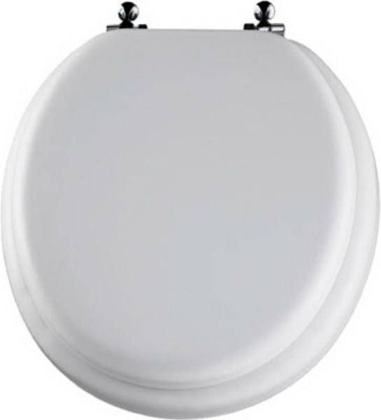 Mayfair 13CP-000 Round Cushioned Vinyl Toilet Seat w/ Molded Wood Core, White