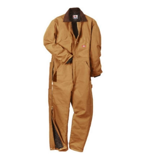 Dickies TV239BDXLR Men's Regular Fit Duck Insulated Coveralls, XL, Brown