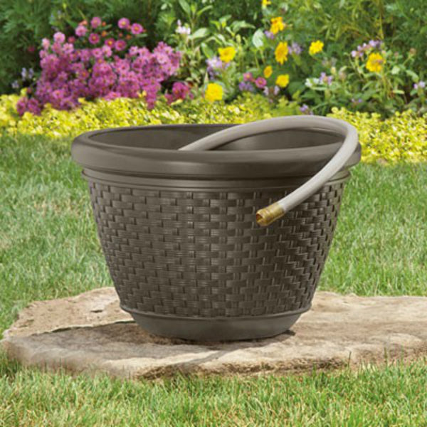 Suncast® HPW100 Resin Wicker Design Garden Hose Pot, Java, 100' Capacity