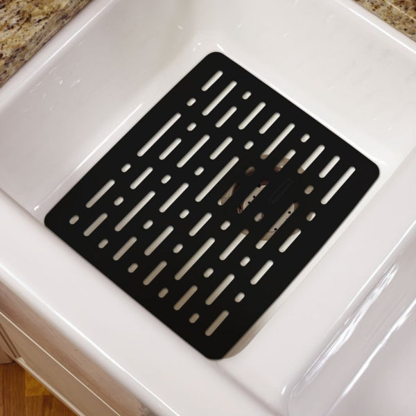 Rubbermaid® 1G1706BLA Enhanced Microban® Antimicrobial Sink Mat, Small, Black