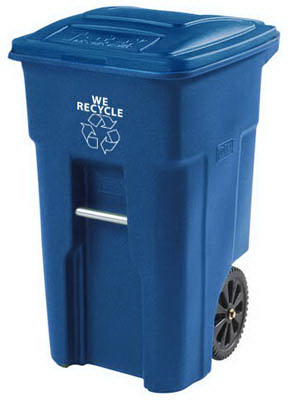 Toter 2-Wheel Blue Recycle Cart with Attached Lid, 32 Gallon