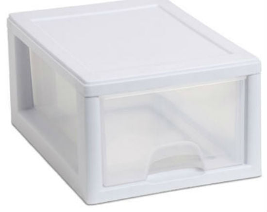 Sterilite 20518006 Stacking Storage Drawer, 6 Qt, White Frame with Clear Drawer